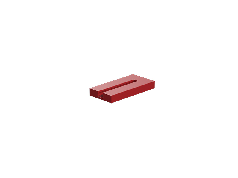Building plate 15x30x3.75 with groove, red