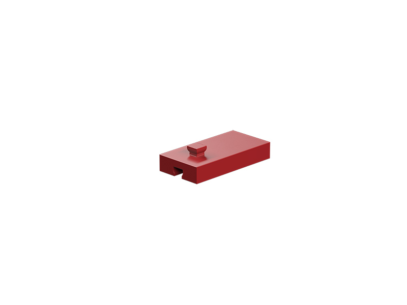 Building block 15x30x5 with groove and pin, red