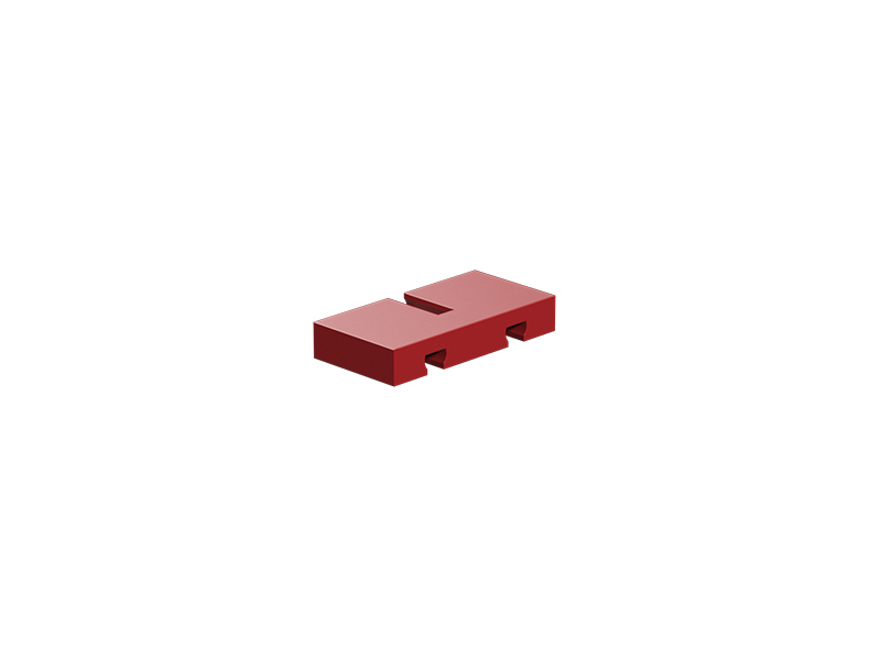 Building plate 15x30x5 with 3 grooves, red